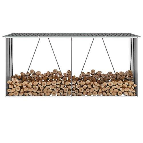 tidyard- cobertizo de madera a prueba de agua cuadrado hecho de tablero estructural de acero galvanizado gris 330 x 84 x 144/152 cm (longitud x anchura x altura)