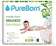 PureBorn Diapers, Size 3, Single Nappy Pack - 5.5-8 Kg, 28 Count - Assorted Prints