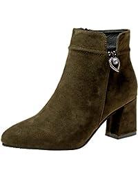 Botines Martin del alto talón elegante mujer,Sonnena ❤️ Zapatos casuales de mujer Martin Boots Longitud del tobillo Botas de cremallera de tacón alto