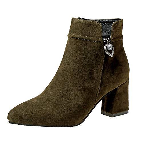 FeiBeauty Stiefeletten Damen Leder Wildleder Sommer Low Top Ankle Boots Blockabsatz Stiefel Mit Blockabsatz Elegant Schuhe Seitlicher Reißverschluss Stiefel