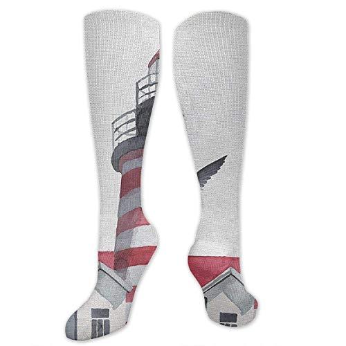 Gped Kniestrümpfe,Socken Lighthouse and Seagulls Compression Socks,Knee High Socks,Funny Socks for Women Men - Best Medical,Sports,Running, Nurses,Maternity,Pregnancy,Travel & Flight Socks