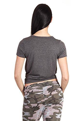 T-Shirt Crop Knot Knoten Bauchfrei Top Oberteil Damen Shirt Short Arm Kurz Arm Dunkelgrau