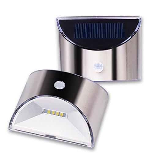 JINHUGU Solarbetriebene 4 LED PIR Bewegungs-Sensor-Edelstahl-Wand-Licht für Gartenhaus im Freien...