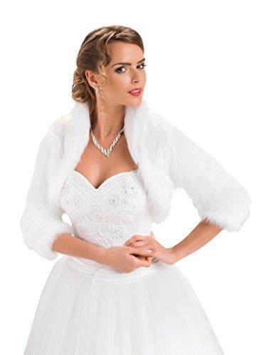 Pelz Bolero Braut Hochzeit Fell Jacke aus künstlichem Fuchspelz mit 3/4 langen