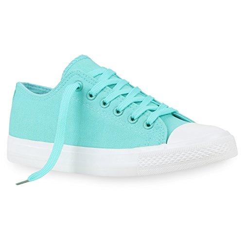 Freizeit Damen Sneakers Low Viele Farben & Größen Canvas Schuhe Türkis Türkis