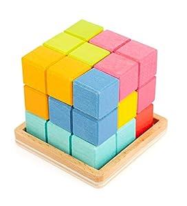 11346 Puzzle Cubo Tetris 3D, Small Foot, Compuesto de 7 Piezas en Forma de Tetris, Juego de Puzzle a Partir de los 5 años.