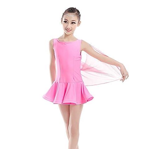 enfant Danse latine ballet Service de pratique Femelle Fil net robe Danse Performance Faire correspondre les vêtements , pink ,