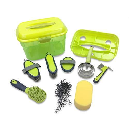 Adozen Pferde-Putzbox mit Inhalt für Kinder und Erwachsene XL | 9-Teilig befüllt | Soft Touch Antirutschgriffe | Limette-Grün-Gelb