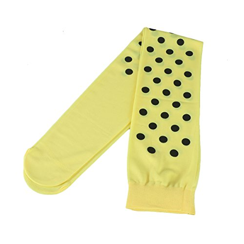Tinksky Socken Oberschenkel Socken Make-up-Halloween Cosplay Socken-Polka Dot Clown für die Party (gelb schwarz)