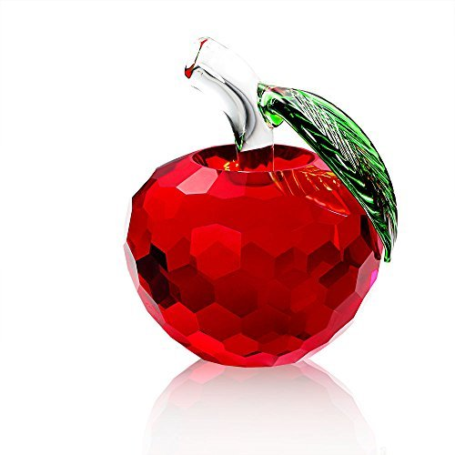 eschwerer aus Kristall, Art Glass Apple Collectible Figuren Best für Lucky Christmas Eve Gifts/Tolle Hochzeit Decor Geschenke 60mm Rot ()