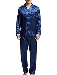 c2763edb9a Herren Schlafanzug Pyjama Set Satin Nachtwäsche mit Langen Ärmel Loungewear