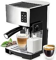 ماكينة تحضير قهوة اسبرسو وكابتشينو مع مضخة ضغط عالية بقوة 19 بار وخزان حليب قوي للاستخدام المنزلي، ماكينة قهوة