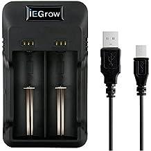 iEGrow Li-ion Akku Ladegerät mit LED for 26650, 18650, 18500, 18350, 17670, 17500, 16340, 14500, 10440 3.7V Lithium Batterien, Universal Akkuladegerät Akkus Steckerladegerät (2 LED)