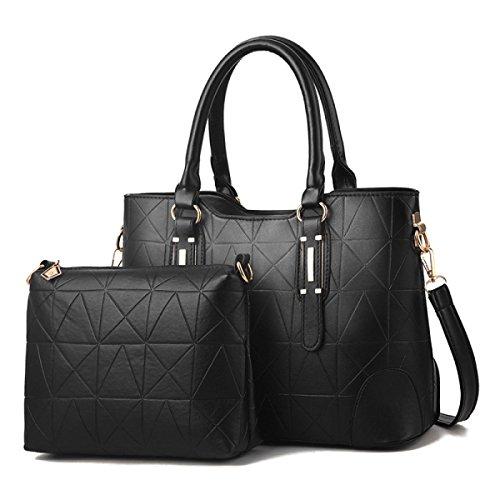 ZPFME Womens Umhängetaschen Sets Mode Umhängetasche Elegant Shopper Leder Party Retro Damen Tasche Black