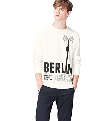 FIND Sweatshirt Herren Baumwoll-Jersey mit Berlin-Print, Weiß (White 002), 52 (Herstellergröße: Large)