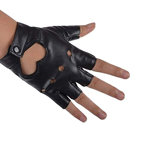 Rollstuhl Kostüm Motorrad - ZYCX123 Mode-Herz-Ausschnitt Punk-halber Finger-PU-Leder-Performance Handschuhe(schwarz)