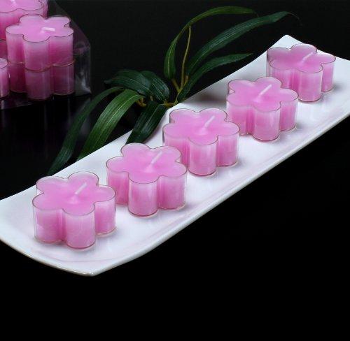 Teelichter Blüten Blumen Kerzen rosa, Packung mit 12 Stk.