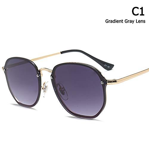 ZHOUYF Sonnenbrille Fahrerbrille Mode Trend Blaze Stil Runde Sonnenbrille Frauen Männer Vintage Klassische Marke Design Sonnenbrille Oculos De Sol, A