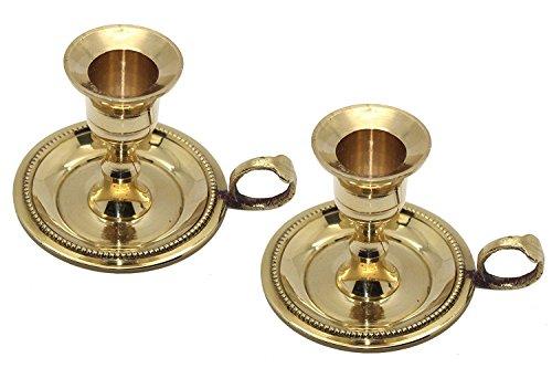 Govinda Messing Chamberstick Konisch Kerzenhalter für Standard (7/8) Kerzen (2Stück) - Messing-2 Kerzen