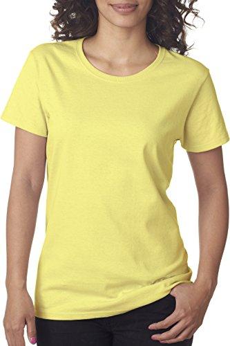 Gildan Schwere Baumwolle Damen-T-Shirt, damen, Hellgelb (Neck Jersey Scoop Tee)
