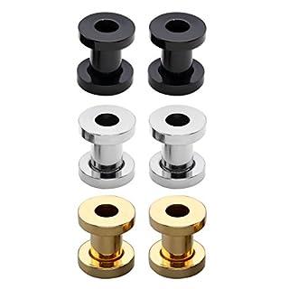 PiercingJ 3 Paare Mix Edelstahl Tunnel Set Tunnelset Ohrpiercing Plug Plugset Flesh Ohstecker (gold+silber+schwarz) (Durchmesser: 5mm pro Stück)