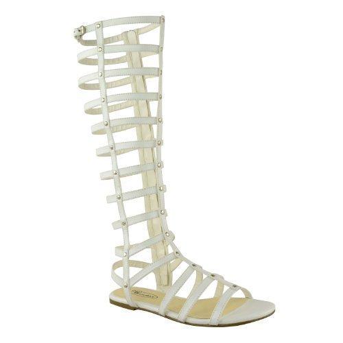 itte Gladiator Sandalen Flache Kniehohe Riemchen Stiefel - EU 37, Weiß Kunstleder, Synthetik (Römische Kostüme Sandale)