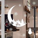 ODJOY-FAN Elch Schneeflocke Wandtattoos Weihnachtsbaum Schneemann Wandaufkleber Weihnachten Schnee Dekoration Schlafzimmer Mauer Aufkleber Tapete Wall Stickers (70x88cm) (Weiß,1 PC)