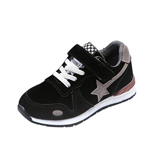 Turnschuhe Stiefel Jamicy® Outdoor Stearwear Kleinkind Kinder Mesh Leder Sport Laufschuhe Jungen Mädchen Sterne Mesh Schuhe Turnschuhe (Schwarz, EU:23) (Schnee Stiefel Turnschuhe)