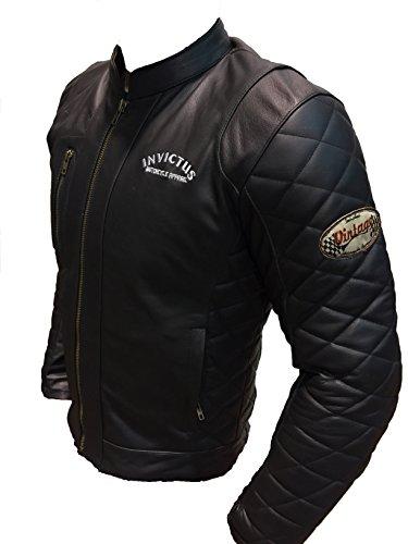 Invictus Vintage Hector Giacca di pelle da moto, stile Cafe Racer, colore: nero XXXL