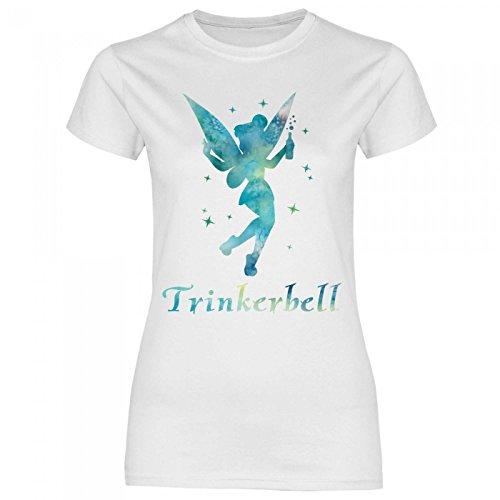 Royal Shirt a20 Damen T-Shirt Trinkerbell | Trinkerfee Fee Bell Partyshirt Sprücheshirt Girly Mädchen, Größe:L, Farbe:White