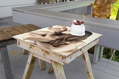 Wallario Aufkleber Selbstklebende Garten-Tisch-Decke - Sexy Lesben - erotisch, anregend, verrucht in 100 x 100 cm (Sexy Lesben)
