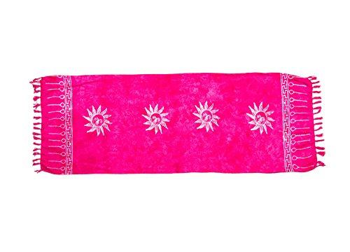 MANUMAR Damen Sarong Blickdicht als Mini-Rock (155x55cm) | Kinder Pareo Strandtuch mit Schnalle | Leichtes Wickeltuch in pink mit Sonnen-Motiv mit Fransen/Quasten für Kinder | Bikini | Bali