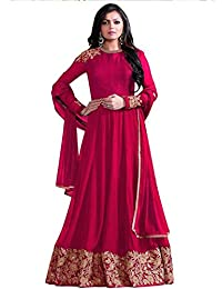 Kings Fashion Bazaar Women Faux Georgette Anarkali Semi-Stitched Salwar Suit (GATMPU10486_Pink_Free Size)