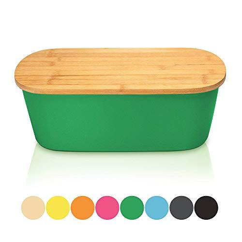 Bambuswald Brotbox mit integriertem Schneidebrett 38x20,5x12 cm - Brotdose | Brotkasten für Croissants, Brot o. Brötchen | Brotbehälter mit Küchenbrett | Brotbrett Dunkelgrün