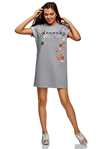 oodji Ultra Damen Kleid mit Druck und Aufschlägen auf den Ärmeln, Grau, DE 36 / EU 38 / S