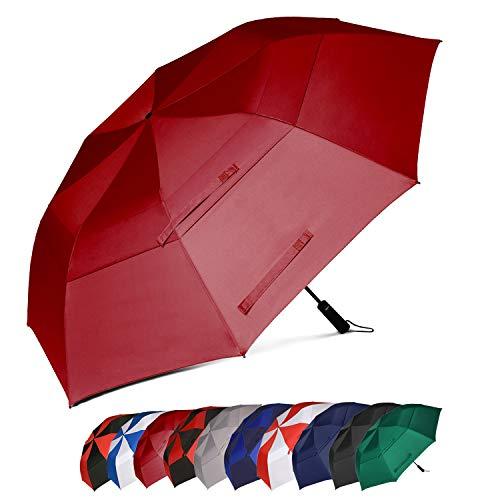 Eono by Amazon - Paraguas de golf XL resistente al viento con doble tela y sistema de apertura automático, 157,4 cm (bermellón)