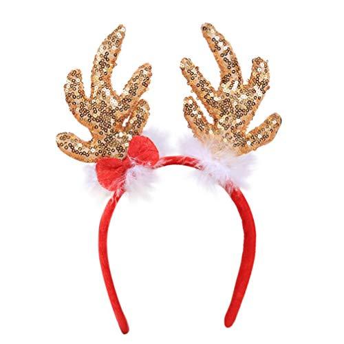 (TianranRT Heiße Weihnachten Kopfband Stirnband Santa Xmas Party Dekor Doppel Haarband Schließe Kopf Hoop (Gold))
