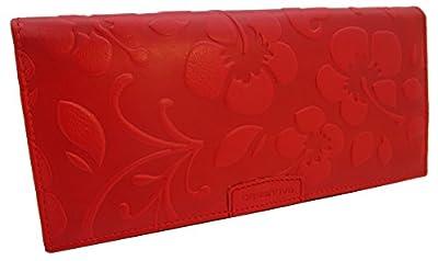 KissMe Collection Portefeuille en cuir pour femme - Fleur en Relief - Fabriqué en Espagne - 100% Cuir Véritable Porte-monnaie - Couleurs Disponibles