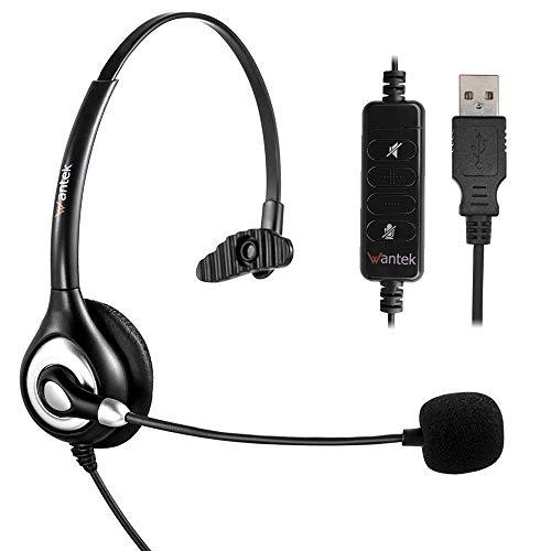 Noise Cancelling Mikrofon und Lautstärkeregler, Wantek UC Business Kopfhörer für Skype, SoftPhone, Call Center, Kristallklarem Chat, Superleicht, Ultra Komfort(UC600) ()