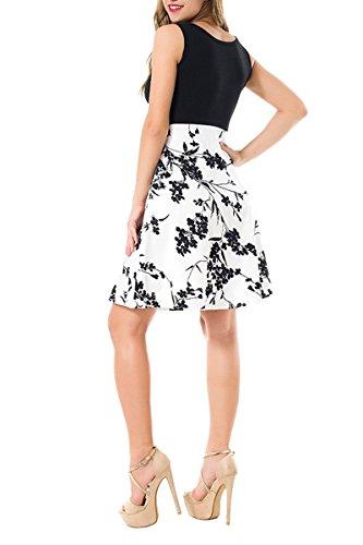 ... YMING Damen Vintage Kleid Partykleider Ärmellos Cocktailkleider Midi  Sommerkleid Weiß,Schwarz Blumen ...