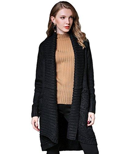 Dooxi Femme Automne Hiver Elegant Manche Longue Tricoté Cardigan Décontractée Slim Fit Longue Cardigans Noir