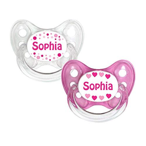 Dentistar® Silikon Schnuller 2er Set inkl. 2 Schutzkappen - Nuckel Größe 1 von Geburt an, 0-6 Monate - zahnfreundlich und kiefergerecht | Sophie