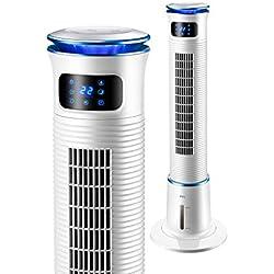 Ventilateur tour pivotant de 43 pouces avec moteur ultra-haute puissance de 40 W, télécommande, minuterie de 15 heures et 3 modes de ventilation, grand réservoir d'eau de 5 L, convient à la maison et