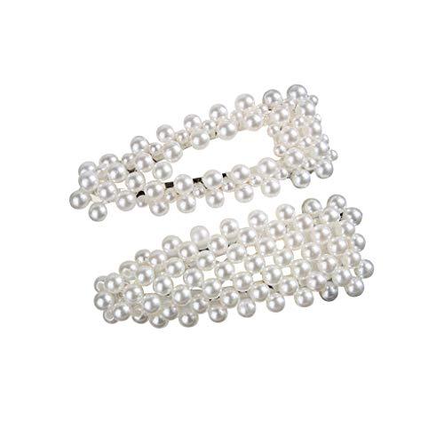 OSYARD 2 Stücke Eleganz Weiße Perlen Dekor Haarspangen Braut Haarklammern Haarnadeln Frauen Mädchen Hair Clips Haarschmuck