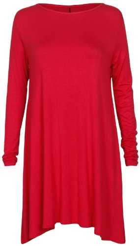 Baleza - Mini Robe Courte Femme Uni Jersey Manche Longue Evasé Rouge