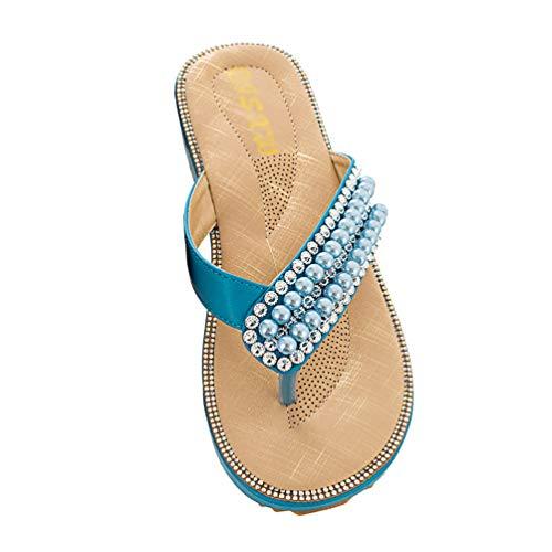 Schwarze Flip-flops Mit Strass-steinen (TianBin Zehentrenner Damen Rutschfest Böhmen Sandalen T-Strap Lässig Flip Flops Flache mit Glitzer Perlen (Blau, 40 EU))