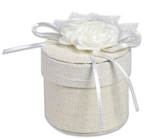 Vetrineinrete® scatoline portaconfetti tonda 36 pezzi per matrimonio comunioni e battesimo scatole per confetti bomboniere segnaposto in tessuto avorio 302048 p26