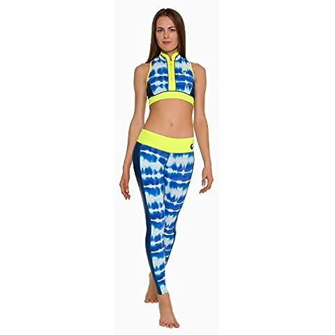 GLIDESOUL de las mujeres media cremallera frontal Tie Dye corto Tops, mujer, color Blue Print/blue Gs/lemon, tamaño Large/0.5