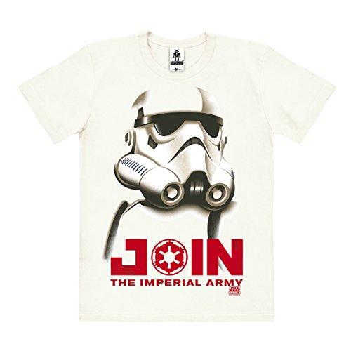 Film - Star Wars - Stormtrooper - Imperiale Armee T-Shirt Organic Herren - Bio Baumwolle - organic cotton - altweiß - Lizenziertes Originaldesign - LOGOSHIRT, Größe (Kostüme Authentisch Stormtrooper)