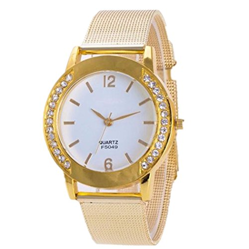 Valentinstag Uhren DELLIN Fashion Women Crystal Golden Stainless Steel Analog Quartz Wrist Watch Bracelet (golden)